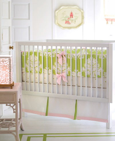 Layla grayce pink and green crib
